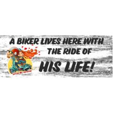 A Biker Lives Here Wall Hanging