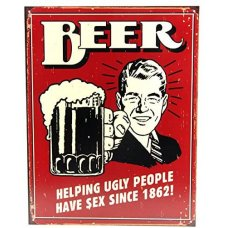 Beer helping tin sign