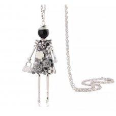 Black & White Dress Doll Necklace