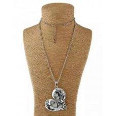 Antique Heart Silver Necklace