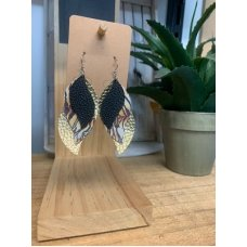 Faux Leather Earrings - Blk/Tiger/Gold