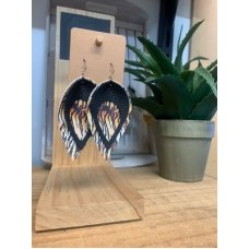 Faux Leather Earrings - Pinched Blk/Tiger