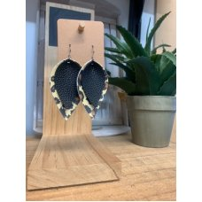 Faux Leather Earrings - Pinched Blk/Animal