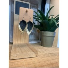 Faux Leather Earrings - Pinched Blk/Gold Mini