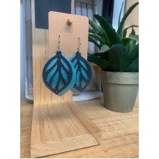 Faux Leather Earrings - Blk/Teal Leaf