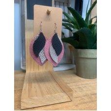 Faux Leather Earrings - Blk/Pink/Slvr