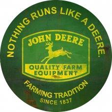 John Deere Round Tin Sign