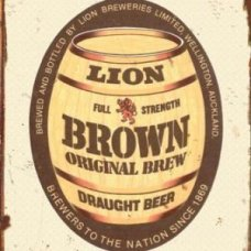 Lion Brown Barrel Tin Sign