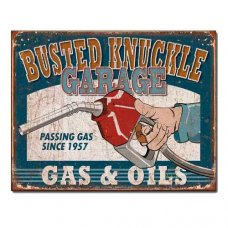 Busted Knuckle Gas and OIl tin sign