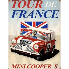 Tour De France Mini Cooper tin sign