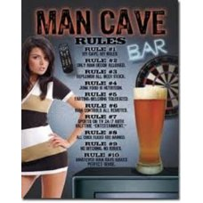 Mancave Rules Tin Sign