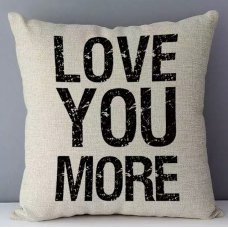 Love You More White/Black Cushion