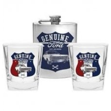 Ford Glasses x 2 & Flask Gift Set