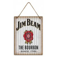 Jim Beam White Corrugated tin sign