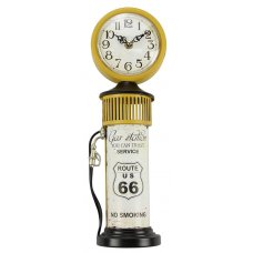Clock Route 66 Petrol Bowser - Yellow