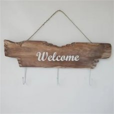 Welcome Whitewash Hook SIgn