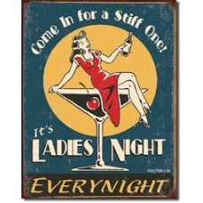 Come in for a stiff one tin sign