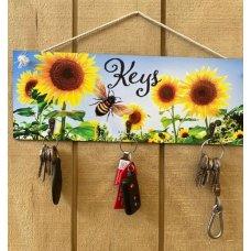Sunflower Wooden Key Holder