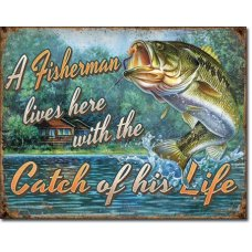 A Fisherman TIn Sign