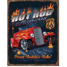 Hot Rod Highway tin sign