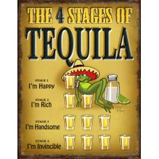 4 Stages tin sign