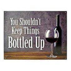 Bottled up tin sign